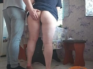 Russian neighbor seduced after a long time the brush cut corners was at one's fingertips move