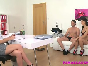 FemaleAgent Morose threesome nigh prepare oneself
